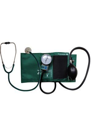 Conjunto Aparelho de Pressão Velcro e Estetoscópio Unisson P.A Med Verde
