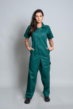 Macacão Cirúrgico Feminino Brim Leve Verde Escuro