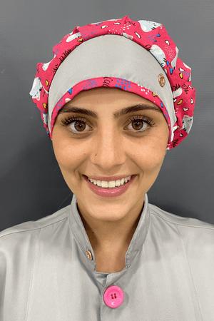 Touca Cirúrgica Feminina Tricoline Rosa/Cinza Gatinhos