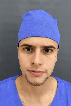 Gorro Cirúrgico Masculino Brim Leve Azul