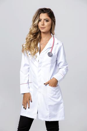 Jaleco Feminino Microfibra Gabardine com Viés Rosa